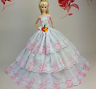Barbie Doll White / Pink Party & Evening Organza / Lace Dresses Dresses