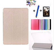 Triple Folding Intelligent Flip Case For Galaxy Tab 3 Lite 7.0/Tab 3 7.0/Tab 4 7.0/Tab A 8.0/Tab 4 10.1+Film + Stylus