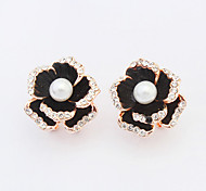 Women's New European Style Fashion Elegant Shiny Rhinestone Flower Imitation Pearl Stud Earrings