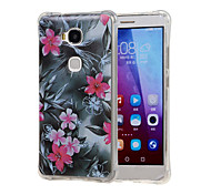 Red Flower Pattern Grainy Inner Shockproof Air TPU Case for Huawei Honor Play 5X / Honor 5X