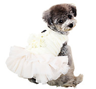 Dog Dress White / Pink Dog Clothes Spring/Fall Solid Fashion