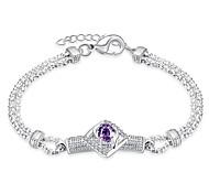 Korean-style Romantic Purple Crystal Geometric Bracelet Women's Silver Plated Wristband Bracelet(Color:Silver)