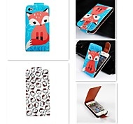 Comic  Patten Up-down Turn Over PU Leather Full Body Case for iPhone 4/4S