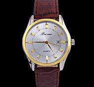 L.WEST Men's Waterproof Leather Calendar Analog Quartz Watch Wrist Watch Cool Watch Unique Watch