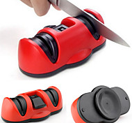 2in1 2 Sharpeners Ceramic Coarse&Tungsten Steel Fine Knife Sharpener with Secure Suction Pad for Knife Scissor Tool