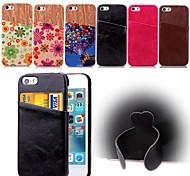 Для Кейс для iPhone 5 Бумажник для карт / со стендом Кейс для Задняя крышка Кейс для Один цвет Твердый Искусственная кожа iPhone SE/5s/5