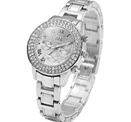 Women Diamond Dial Quartz Watch with Stainless Steel Band