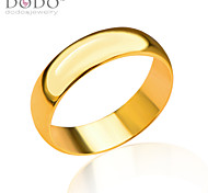 Gold color Ring Men Gift Wholesale 18k Gold Plated 6MM Wide Classic Wedding Bands Rings for Men Jewelry R70092
