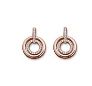 Luxury Stud Earrings for Women Clean Crystal Circle Earrings Fashion Jewelry Accessories Silver Plated(Assoeted Color)