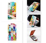 Fine House Patten Up-down Turn Over PU Leather Full Body Case for iPhone 5/5S