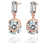 Clean Allergy Free Silver Plated Women Drop Earrings European Style Luxury Zircon Insert Earrings Wedding for Bride