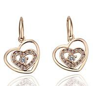 Luxury Austria Crystal Drop Earrings for Women Heart in Heart Earrings Fashion Jewelry Accessories Silver Plated