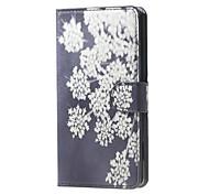 белые цветы шаблон бумажник кожаный флип стоять корпус с гнездом для карты для Microsoft Lumia 650
