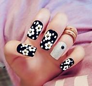 24PCS Black Dot Flower Nail Tips