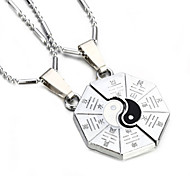 Vilam® Zinc Alloy Black White Tai Chi China Style Couple Necklaces Super Shining Best Friends Necklaces