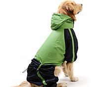 Cat Dog Rain Coat Red Green Dog Clothes Summer Spring/Fall Color Block Waterproof Windproof