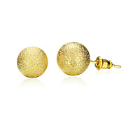 18K Gold Plated Stud Earrings 1.0cm Frosted Round Earring with Back Stoppers Fashion Jewelry(Color:Gold)