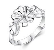 Beauty Simple Flower Rings Classic Silver Plated Ladies Ring Fine Jewelry(Size:7/8,Color:Silver)