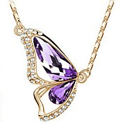 Women Necklace ELegant Crystal Butterfly Pendant Necklace(Assorted Color)