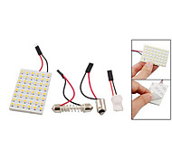 3528 SMD LED Panel 48 3528 Warm White LED Light +T10/BA9S Module + Double Tip(DC 12V)