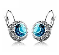 Luxury Austria Crystal Stud Earrings for Women Shining Earrings Fashion Jewelry Accessories Silver Plated
