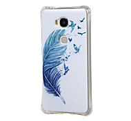 Blue Feather and Dream Pattern Grainy Inner Shockproof Air TPU Back Case Cover for Huawei Honor Play 5X / Honor 5X