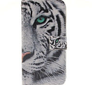 White tiger Design PU Leather Full Body Case with Card Slot for Samsung Galaxy A9/A9000
