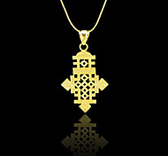Ethiopian Cross Pendant Necklace Chain 18k Gold Filled Plated Ethiopia Item Jewelry Africa Women Men