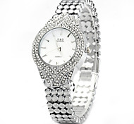Diamond Female Quartz Watch with Stainless Steel Band