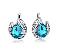 Full Crystal Earrings Stud Earrings for Women Tear Shape Earrings Fashion Jewelry Accessories