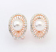 Women's New European Style Fashion Shiny Rhinestone Imitation Pearl Oval Stud Earrings