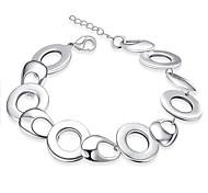 Korean-style Romantic Geometric Circle Chain Bracelet Women's Silver Plated Wristband Bracelet(Color:Silver)