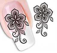 Water Transfer Printing Black Five Petals Flower Nail Stickers