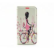 Bicycle Girl Diamond Painted Bracket PU Case For Samsung Galaxy S7/ Galaxy S7 edge