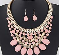 Women's European Fashion Gorgeous Bright Gemstone Necklace Earrings Set
