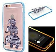 tres elefantes patrón transparente de TPU + PC 2 en 1 con efecto ic llevado cubierta trasera para iPhone 6 / 6s