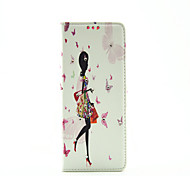 Walking Girl Diamond Painted Bracket PU Case For Samsung Galaxy Note3/Note4/Note5