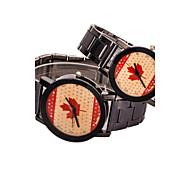 Masculino Mulheres Casal Relógio de Moda Quartzo Lega Banda Preta # 1 # 2