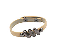 Fashion Women Trendy Geometric Metal Beads Decorated Beige Leather Bracelet
