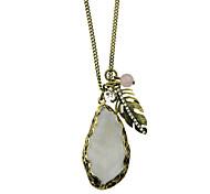 Simple Rhinestone Long Pendant Necklace