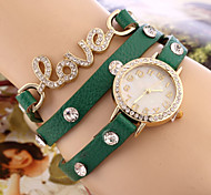 Women's New European Style Fashion Rhinestone Wrapped Leather Bracelet Watch Cool Watches Unique Watches