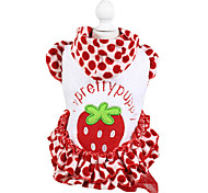 Dog Coat / Hoodie Red Winter Fruit / Polka Dots Fashion / Keep Warm