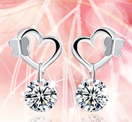 925 Silver Sterling Silver Jewelry Earrings Sample Heart Zircon Stud Earring 1Pair