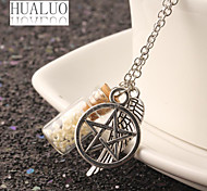 HUALUO®Angel Wings Glass Pendant pentagram necklace