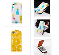 Pineapple Orange Pattern Up-down Turn Over PU Leather Full Body Case for iPhone 4/4S