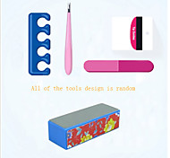 5Pcs Professional Manicure Tools Kit Rectangular Nail Files Brush Nail Art Set(Random Color)