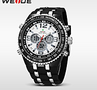 WEIDE® Double Movement Analog Digital Date Display Waterproof Rubber Strap Watch