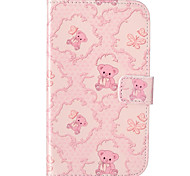 Bear Flower Pattern Embossed PU Leather Case for Galaxy Grand Neo