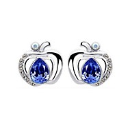 Luxury Stud Earrings for Women Clean Crystal Apple Earrings Fashion Jewelry Accessories Silver Plated(Assoeted Color)