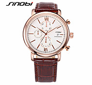 SINOBI® Men's Multi Dials Quartz Watch Brown Leather Dress Watch Brand Waterproof Automatic Design Fasion Watch Wrist Watch Cool Watch Unique Watch